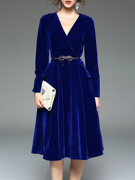 Royal Blue Elegant Swing Solid Midi Dress With Belt