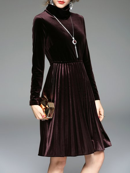 Elegant Turtleneck Elegant Pleated Solid Midi Dress