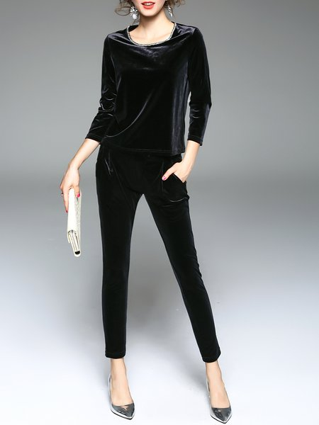 Casual Long Sleeve Two Piece Crew Neck Solid Jumpsuit