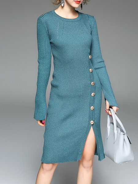 Long Sleeve Crew Neck Sheath Casual Buttoned Midi Dress
