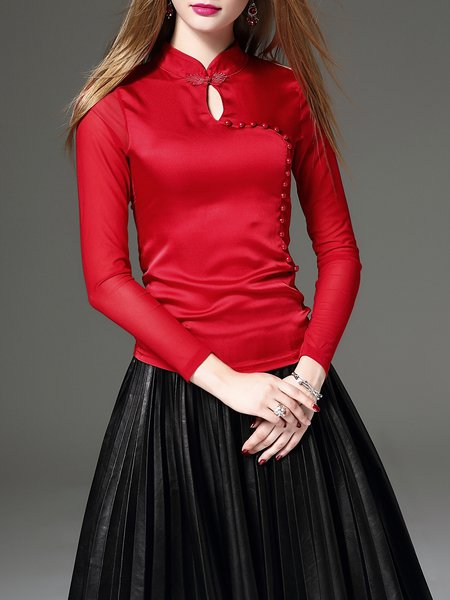 Red Elegant Keyhole Cotton-blend Long Sleeved Top