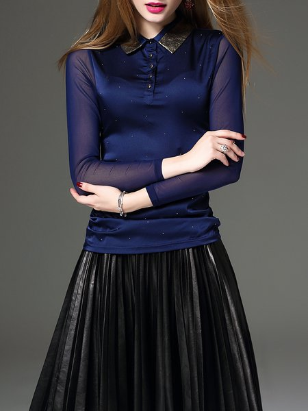 Cotton-blend Mesh Shirt Collar Sequins Elegant Long Sleeved Top