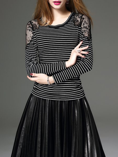 Black Stripes Paneled Lace Long Sleeved Top
