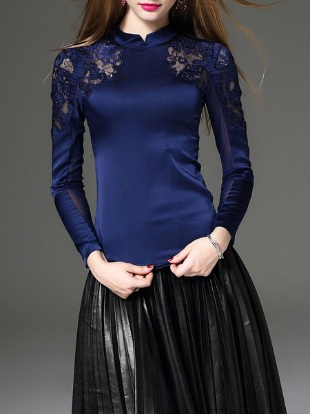 Royal Blue Cotton-blend Embroidered Stand Collar Long Sleeve Top