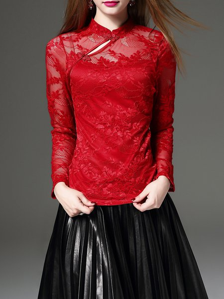 Red Stand Collar Lace Long Sleeve Top