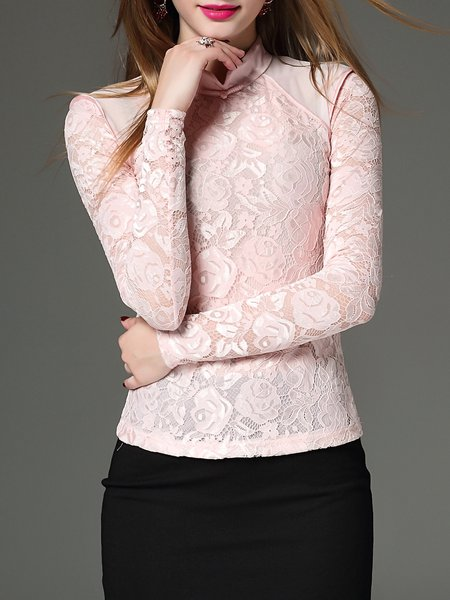 Lace Elegant Stand Collar Long Sleeved Top