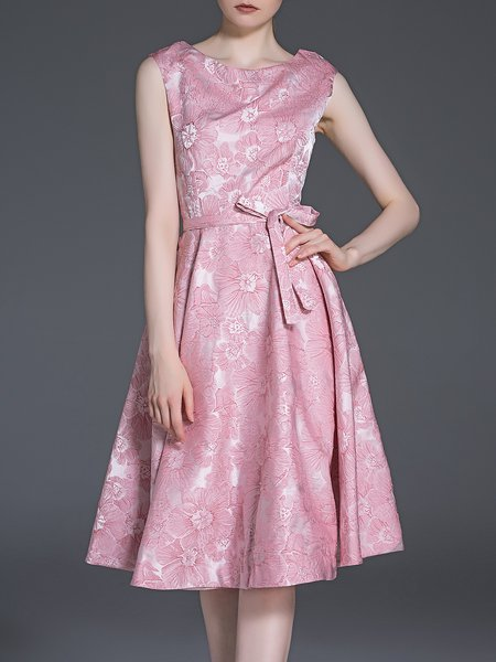 Pink Crew Neck Sleeveless Jacquard Midi Dress
