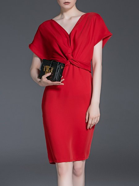 Sheath Cocktail Plain Short Sleeve Midi Dress