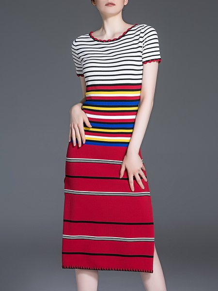 Multicolor Casual Cotton-blend Midi Dress