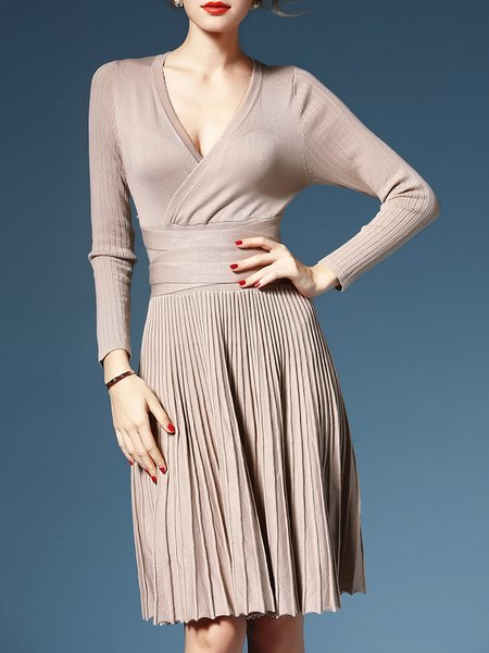 Apricot Pleated V Neck A-line Long Sleeve Wrap Dress