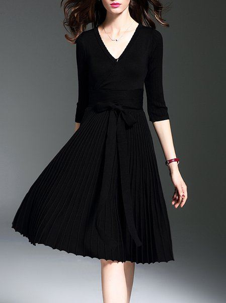 Casual V Neck Pleated A-line Long Sleeve Wrap Dress