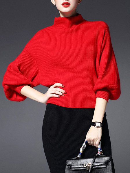 Red Ribbed Long Sleeve Polyester Plain Sweater