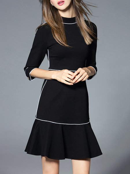 Ruffled Plain Half Sleeve Elegant A-line Mini Dress