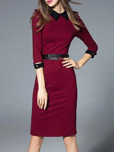 Burgundy Zipper Elegant Cotton-blend Midi Dress