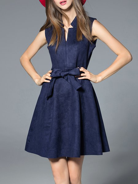 Elegant Polyester Sleeveless Plain Mini Dress with Belt