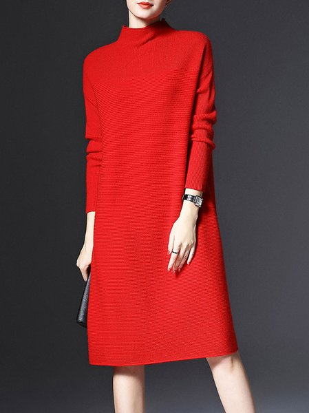 Red Shift Long Sleeve Sweater Dress