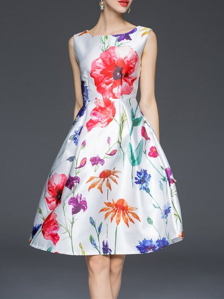 Floral Big Hem Sleeveless Midi Dress