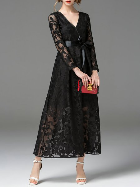 Black Mesh A-line V Neck Long Sleeve Maxi Dress