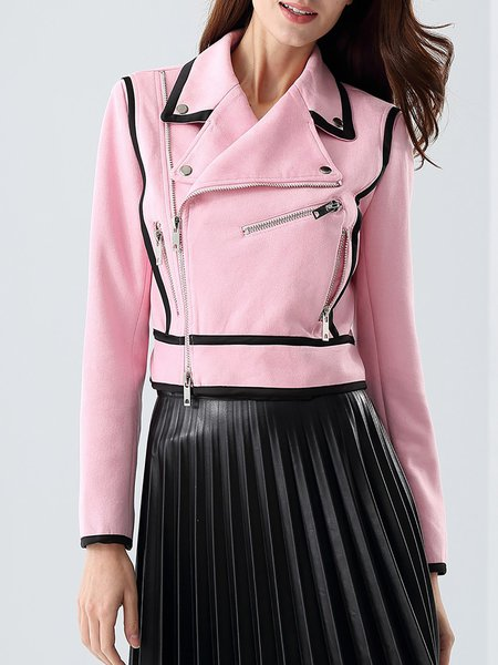 Pink Casual Zipper Binding Cropped Jacket
