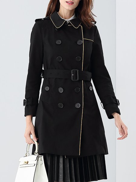 Black Long Sleeve Buttoned Shirt Collar Trench Coat