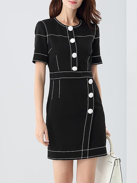 Black Shift Plain Casual Binding Buttoned Mini Dress