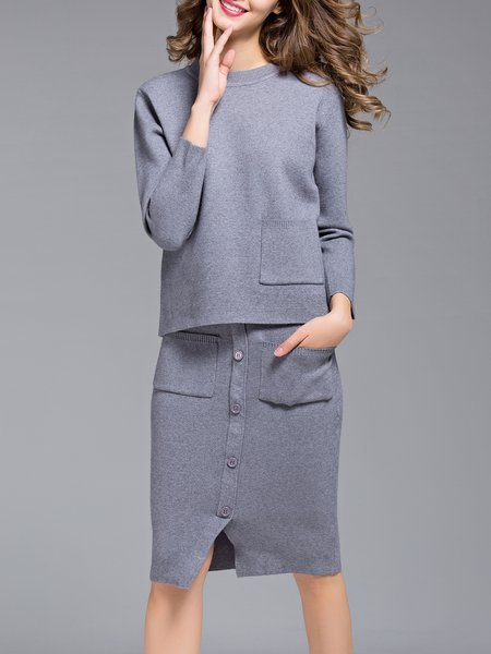 Gray Pockets Long Sleeve Knitted Two Piece Midi Dress