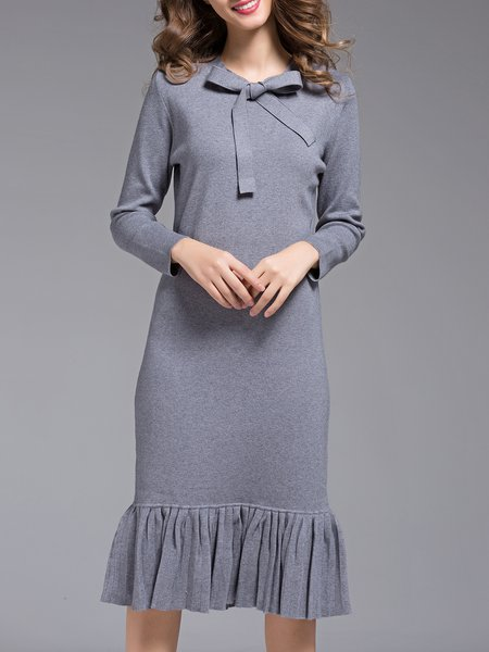 Ruffled Elegant Long Sleeve Sweater Dress
