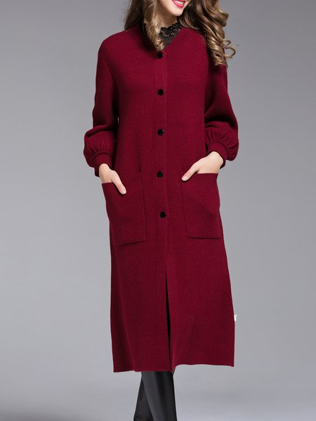 Wine Red Long Sleeve H-line Knitted Cardigan