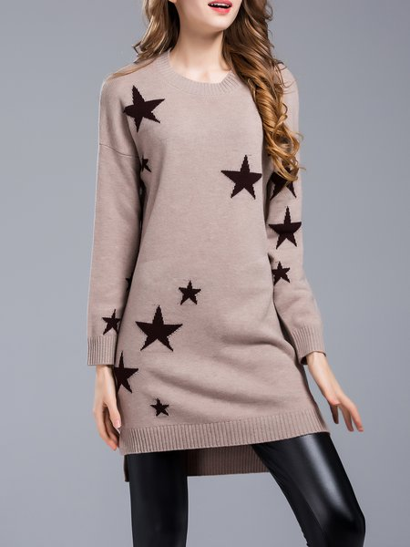 Camel High Low Knitted Cashmere Long Sleeve Sweater