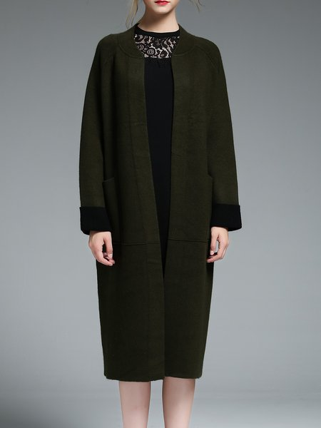 Dark Green Raglan Sleeve Pockets Plain Cashmere Coat