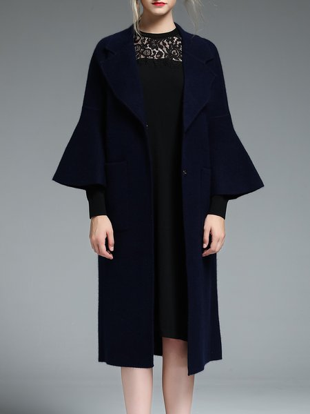 Navy Blue Frill Sleeve H-line Coat