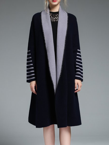 Navy Blue Color-block Simple Plain Wool Coat