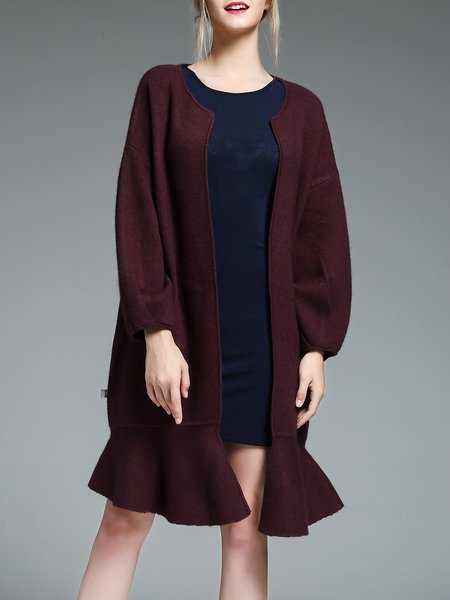 Balloon Sleeve Simple Ruffled Coat