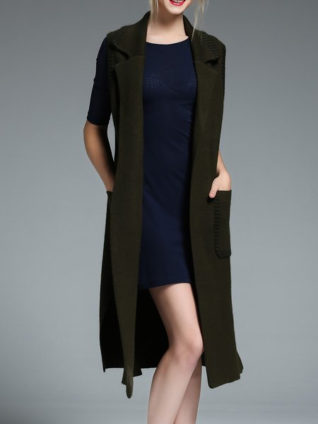 Slit Plain Lapel Simple Pockets Vest
