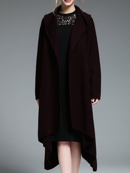 Hoodie Simple Plain Long Sleeve Asymmetric Coat