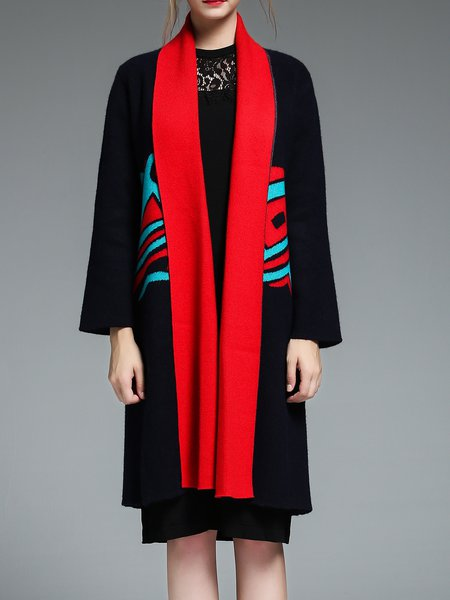 Black Plain Simple Color-block Coat