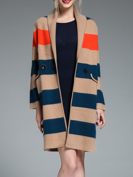 Camel H-line Pockets Simple Color-block Coat