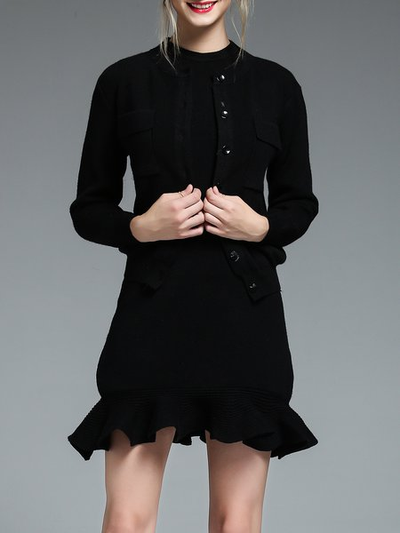 Ruffled Long Sleeve Knitted Two Piece Simple Mini Dress
