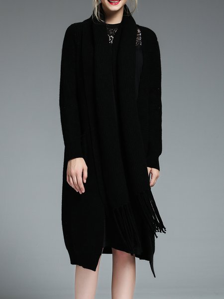 Black Long Sleeve Plain H-line Knitted Cardigan