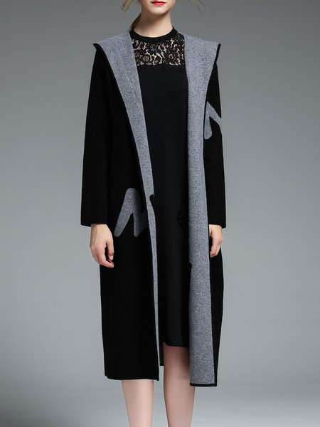 Black Long Sleeve Plain Jacquard Hoodie Coat