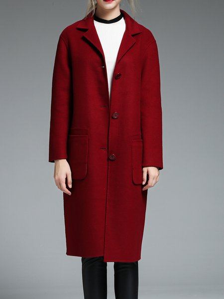 Wine Red Simple H-line Coat