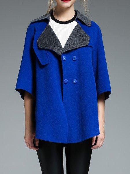 Royal Blue Simple Lapel Wool Asymmetrical Coat