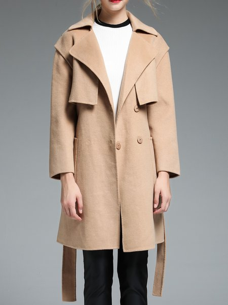 Apricot Simple Plain Paneled Wool Coat