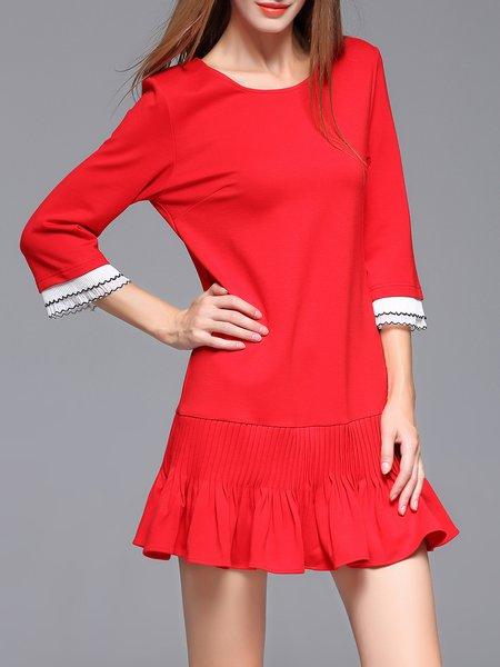 Red 3/4 Sleeve Ruffled H-line Mini Dress