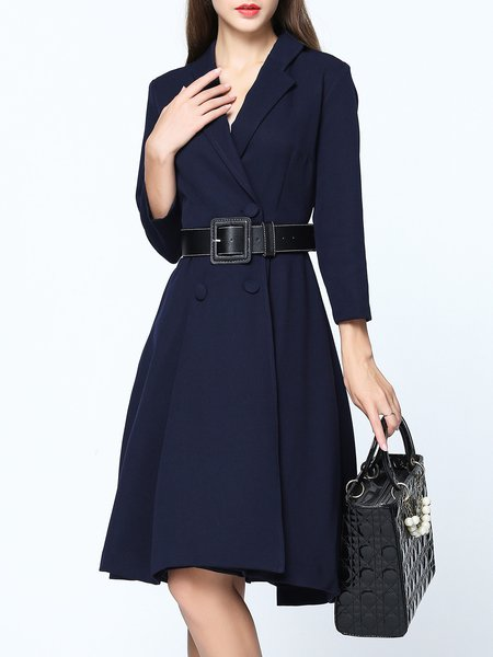 Navy Blue A-line Buttoned Simple 3/4 Sleeve Midi Dress