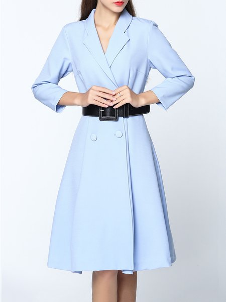 Light Blue Lapel Buttoned Trench Midi Dress