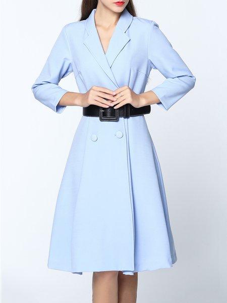 Light Blue Lapel Buttoned Trench Midi Dress