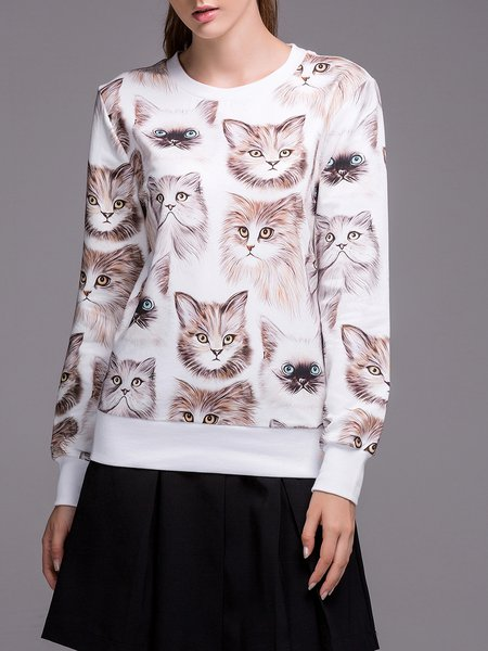 White Printed Cotton Long Sleeve Casual Sweatshirt
