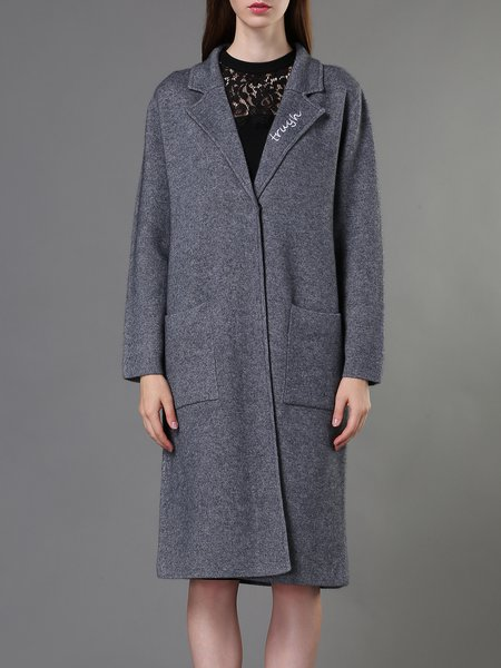 Pockets H-line Knitted Long Sleeve Coat
