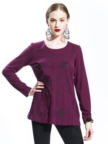 Purple Casual Lycra Embroidery T-Shirt